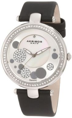Akribos XXIV Women's AKR434BK Silver-tone/Sunray Diamond Dial Quartz Strap Watch Akribos XXIV. $130.00. Water resistant to 5 atm/50 meters/165 feet. Charming timepiece from akribos xxiv. Showcases a silver-tone sunray dial with a mother-of-pearl center. Black leather strap with a satin finish. Genuine diamond and crystal accents. Save 80% Off!