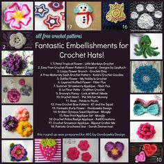Guest post by Rhondda Mol from Oombawka Design Crochet hats make great projects! They are perfect as gifts and for charity projects. You can do a lot with a crochet hat pattern! You can take a basic crochet hat pattern and make it your own with one of these fantastic embellishments!  5 Petal Tropical …