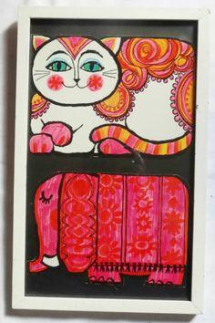 Vintage 1960's Mod Pop Art Print PINk Paisley Cat & Elephant Framed Retro Wall