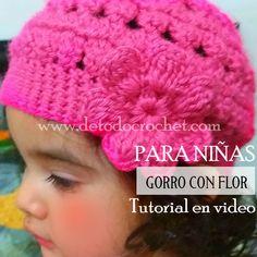 Gorro crochet para niña con tutorial en video Gorros Tejidos De Niña 11c671a3ce9