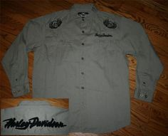HARLEY DAVIDSON MOTORCYCLES button-down Shirt-XL-skull & crossbones/embroidered