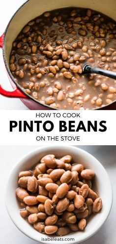 Learn how to cook pinto beans on the stove using two simple ingredients – dried pinto beans and water! Cooking pinto beans on the stove is easy, cheaper than buying the canned version, and makes the best creamy and tender pinto beans ever! Pinto Beans And Rice, Mexican Pinto Beans, How To Make Beans, Dry Beans Recipe, Beans Nutrition, Pinto Bean Recipes, Homemade Beans, Mexican Side Dishes, Dried Beans