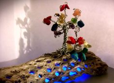 Rainbow Tree of Life. Steel Wire, Gems and Minerals. Gems And Minerals, Cactus, Wire, Decor Ideas, Rainbow, Steel, Christmas Ornaments, Holiday Decor, Simple