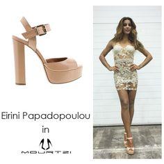 ΕΙΡΗΝΗ ΠΑΠΑΔΟΠΟΥΛΟΥ Eirini Papadopoulou in Mourtzi shoes #Mourtzi #eirinipapadopoulou#sandals #heels #nudeshoes