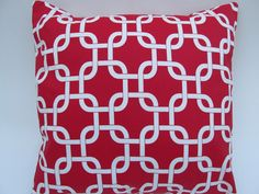 """Geometric Chain Link Red Pillow Cover 18 x 18"""" by Pillomatic, $16.00"""