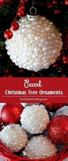 These Pearl Christmas Tree Ornaments are a fun craft that results in beautifully unique Christmas Ornaments that you can make for yourself or as a fun DIY Christmas Gift. Pin this Christmas Craft for later or follow us for more great Christmas Decoration ideas and crafts. #christmasdecorationsDIY #christmastreeornaments #diychristmasornaments