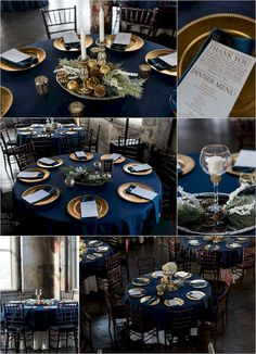 Urban-Event-Space-Reception, winter wedding reception, navy and gold wedding, Kansas City wedding - Table Settings Wedding Table Linens, Wedding Table Settings, Place Settings, Table Wedding, Blue Party Decorations, Wedding Decorations, Navy Wedding Centerpieces, Disney Centerpieces, Table Decorations