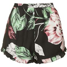 Floral Print Shorts By Kendall + Kylie at Topshop (1,030 MXN) ❤ liked on Polyvore featuring shorts, bottoms, short, topshop, multi, floral shorts, ruffle shorts, floral print shorts, frilly shorts and rayon shorts