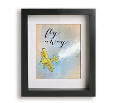 HandPainted Vintage Airplane Watercolor Fine PRINT by Geordanna the Artist of GlamLambCreations, $24.99    PERFECT FOR A LITTLE BOYS ROOM, boys nursery