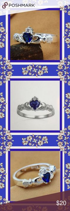 NWOT:  STERLING SILVER CHADDAGH RING   This sterling silver blue sapphire CZ Chaddagh ring is stunning in every way.  The shine is so intense.  The Chaddagh ring is symbolic of the Scottish and Irish culture.  The hands represent friendship, the heart represents love and the crown represents loyalty.  This ring is to be admired.  Jewelry Rings