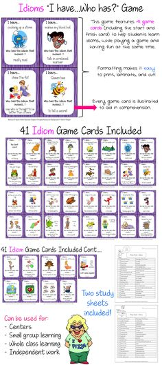 "Idioms ""I have...Who has?"" Game that the kids LOVE to play and will ask to play again. MAKE LEARNING FUN! $"