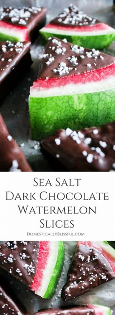 Sea Salt Dark Chocolate Watermelon Slices are bursting with fresh watermelon & the rich flavor of salted dark chocolate for the perfect summer sweet treat. Watermelon Dessert, Watermelon Slices, Watermelon Recipes, Frozen Watermelon, Watermelon Diet, Frozen Chocolate, Chocolate Desserts, Chocolate Dipped, Cooking Chocolate