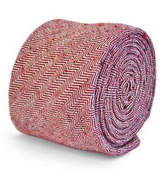 cravate de laine à chevrons rouge marron foncé 100 % par Frederick Thomas FT3100