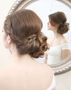 wedding hair - side updo with curls & braid. I don't like the braid though