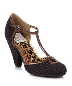 Take a look at the Bettie Page Navy Polka Dot Minnie Mae T-Strap Pump on #zulily today!