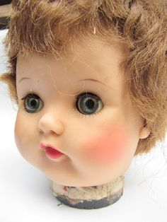 Vintage Doll Head Open Close Eyes