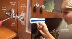 Adjust Hinges on Misaligned Doors - How to Install Cabinet Hardware: http://www.familyhandyman.com/kitchen/diy-kitchen-cabinets/how-to-install-cabinet-hardware