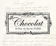 Chocolat French Vintage Antique Typography Label - Vintage Label - Clipart Transfer Iron On Vintage Labels, Vintage Ephemera, French Vintage, Vintage Art, Etsy Vintage, Vintage Antiques, Decoupage, French Typography, Background S