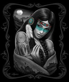 Dreamcatcher-Native-American-Indian-Moon-Girl-DGA-David-Gonzales-Blanket-Queen