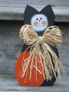 Halloween Cat with Pumpkin by SweetTeaToo on Etsy, $7.95