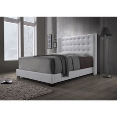 DG Casa Savoy wingback bed. Synthetic leather upholster  accented with wooden legs