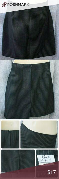 Black and White Pinstripes Mini Skirt Black with white pinstriped mini skirt. EUC with no flaws or signs of wear. Back slit and hidden zipper. Skirts Mini