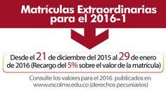 ¡No olvides que las Matrículas Extraordinarias comienzan el 21 de Diciembre de 2015!