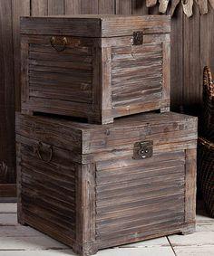 Loving this Wooden Trunk Set on #zulily! #zulilyfinds