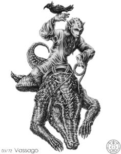 """Vassago, in demonology,   is a mighty Prince of Hell,   ruling over twenty-six legions of demons. He can be persuaded to tell the magician of events past and future, can discover hidden and lost things, and has a """"good"""" nature."""