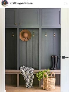 This warm wood and deep grey colored mudroom designed by couldn't be more inviting. This warm wood and deep grey colored mudroom designed by couldn't be more inviting. Mudroom Cabinets, Mudroom Laundry Room, Mud Room Lockers, Mudroom Cubbies, Hallway Storage, Entry Lockers, Garage Storage, Built In Lockers, Kitchen Cupboards