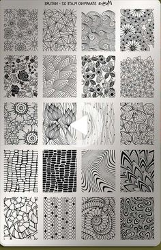 Organic black and white zentangle patterns in a 4 by 5 grid, featuring flowers, . - Organic black and white zentangle patterns in a 4 by 5 grid, featuring flowers, leaves and other na - Doodles Zentangles, Zentangle Drawings, Zentangle Patterns, Art Drawings, Zen Doodle Patterns, Flower Drawings, Easy Zentangle, Zentangle Art Ideas, Art Patterns