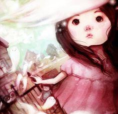 """Oh! My Ghosties!"" Digital. 2010. #flyokay   Tags: #illustration #whimsical #fantasy #art #kawaii"