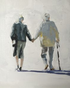 Old Couple Art Print - 8 x 10 inches - from original painting by J Coates by JamesCoatesFineArt on Etsy
