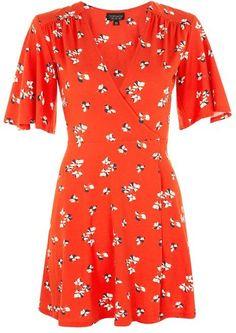 Topshop Floral wrap dress