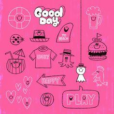 今日は朝から暑いです。 水分補給をしっかりとね。 Doodle Patterns, Print Patterns, Happy Play, Cute Journals, Pen Illustration, Album Book, Message Card, Stick Figures, Pebble Art