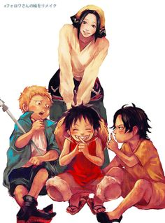 Sabo, Luffy, Ace and Makino