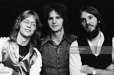Anglo-American folk rock band America, 30th September 1975. Left to right: Gerry Beckley, Dan Peek (1950 - 2011) and Dewey Bunnell.