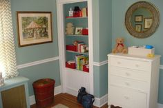 Gender Neutral Nursery - light blue with red accents