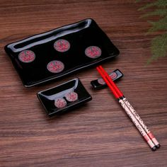 4 Pcs Japanese Sushi Plate Dinnerware Set Black With Chinese Double Happiness  | Collectibles, Cultures & Ethnicities, Asian | eBay!