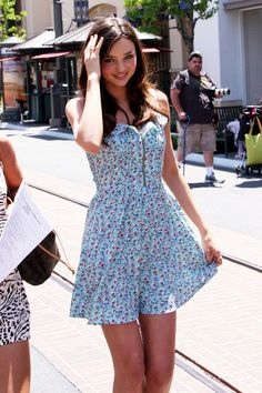 Blue floral sundress - Worn by Miranda Kerr for the Victoria's Secret Bombshell Summer Tour in 2010.