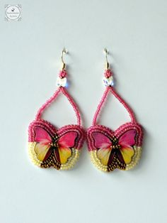Pink and Yellow Wooden Butterfly Earrings Summer by Beadwork4Sale