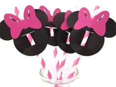 Set of 12 Minnie Straws with toppers - Kids Parties, Mickey Mouse Clubhouse, Treats table on Etsy, $8.75