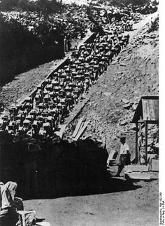 "Mauthausen Concentration Camp (known from the summer of 1940 as Mauthausen-Gusen Concentration Camp) ""Stairs of Death"" Prisoners forced to carry a granite block up 186 steps to the top of the quarry."