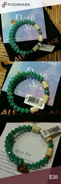 Authentic Alex & Ani Bracelet New with tag & pouch Authentic Alex & Ani Bracelet New with tag & pouch. This piece is from the Summer 2016 Deep Sea Vintage collection. This piece is beautiful. Gold tone antique beads with sea green iradescent crystals with 3 cream color beads. For additional information please ask questions. Alex & Ani Jewelry Bracelets