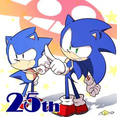 Sonic and Classic Sonic 25th birthday