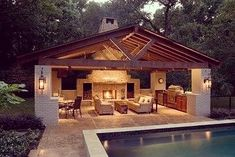 Talk about a pool house! Amazing outdoor living right here.. #interiordesign #interior #design #pool #poolhouse #outdoor #outdoors…