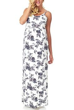 07092dc459 PinkBlush Maternity Grey White Floral Printed Maternity Maxi Dress Large  *** Read more reviews