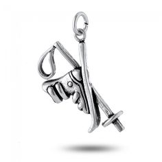 Snow Ski, Pole and Boot Charm in Sterling Silver (27 x 17mm)