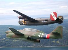 "B-24 Liberator ""Witchcraft"" and ME-262 replica in formation."