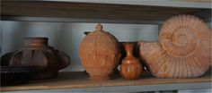 Collection of red terra cotta, water jar Ayutthaya 16th century, Five Dynasties, Chinese Pottery Covered Jar, small vase Late Qing Dynasty,  vintage terra cotta shell